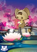 Momocheet and the Water Lilies by lafhaha