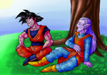 Goku and Kibito Kai by OminousMoon