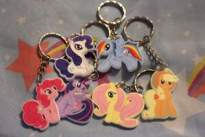 Mane Six Keychains by buttsnstuff