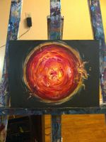 the sun in acrylic out in space... by Alanna-Applet-69