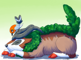 Gogoat and Fletchling by Pidoodle