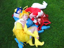 Napping Eeveelutions by KyliaDeRais