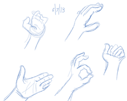 Hands Sketches July 2013 by qwertypictures