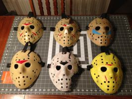 Friday The 13th parts 3-8 hockey masks by TheDarkAssassin444