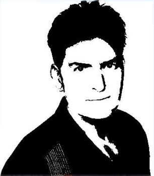 Chalie sheen Stencil by MuZteD