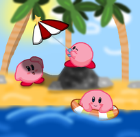 Summertime with Kirby by TLoZ-Freack123