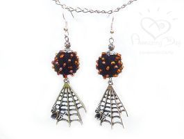 Halloween EARRINGS. Crochet Bead Jewelry. Spider by daarta