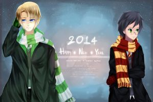 Postcard HNY - Drarry! by WhiteFai