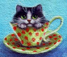 Tea Cup Kitty Mini by carefulwhatyawishfor