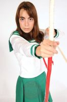 Kagome Cosplay with bow 2 by SerenityPhoenix