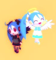 Angel + Devil Chibi Miku DL by Aira-Melody