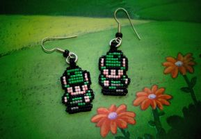 Green Link Earrings by purpleyoshi1