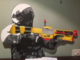 Solider with Nerf Gun stencil by Entireblood