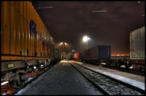 Freight Containers at night by focusgallery