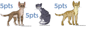 3 5pts Feline Adoptables CLOSED by Frosted-Starlight