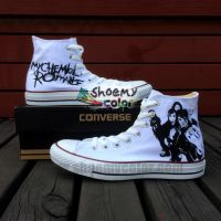 MyChemical Romance HandPainted White Converse Shoe by elleflynn
