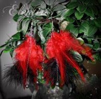 Red and Black Feather Earrings by Aeltari