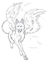 Free Winged Wolf Lines by PashaKL