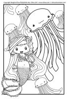 mermaid Blips Lineart by Cilitra