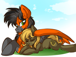 Cuddling ~ Commission by RainbowScreen by Loaded--Dice