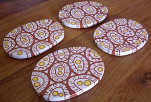 Brown + Yellow Amoeba Coasters by moopf