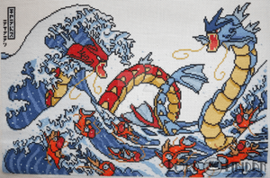 Pokemon Great Wave Cross Stitch by LordLibidan