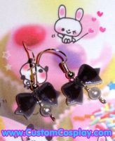 Black bow ear rings by The-Cute-Storm