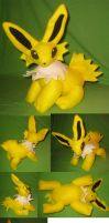 Jointed jolteon plushie by Neon-Juma