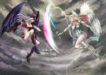 Angel and Demon fight by Lairam