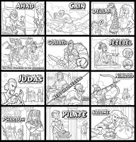 The Villains of the Bible Coloring Pages by ArtistXero