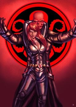Black Widow Red Skull by cric
