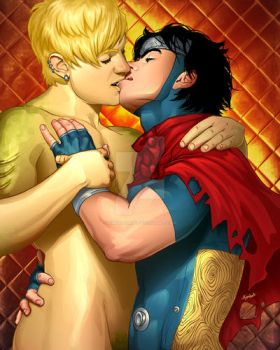 Wiccan and Hulkling by Kimballgray