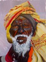 Old Indian Man by vuurvlam