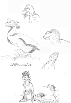 Theropod Sketches 1 by LWPaleoArt