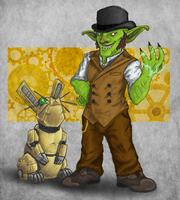 Steampunk the Goblin, Coloured by MoonlostArts