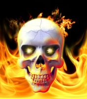Flaming Skull by jigweed