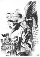 Gwen Stacy and Spider-Man. Pencil by Diego Bernard by Ed-Benes-Studio