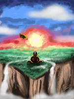 Aang Meditating by Pinkshisno