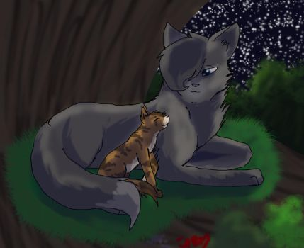 Cinderpelt and leafkit by firelight342