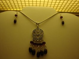 Garnet Dangle necklace and earrings by TDGG