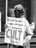 Scientology Protestor by Milesr