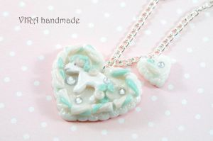 Marshmallow heart necklace with pony by virahandmade