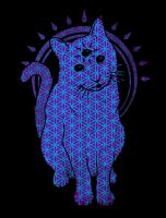 Trippy Cat: Blue Flower of life edition by biotwist