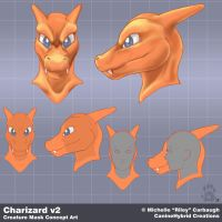 Charizard v2: Mask Concept Art by CanineHybrid