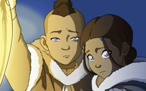 Sokka and Katara by blargmode