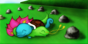 Gift: Squirtle and Meganium by Auxuris