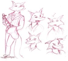 Jazz Aniaml :: The Saxy Wolf Sketches by Space-Jacket