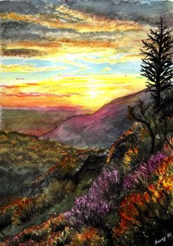 Watercolor sunset by Sunima