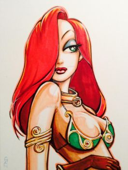 Jessica Rabbit cosplaying Slave Leia by Hobbesbuddy