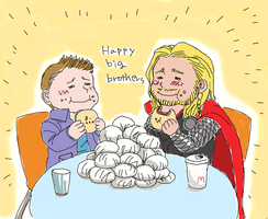 10min drawing -Dean and Thor - by getakichi